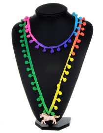 Fashion Multi-color Horse&fuzzy Ball Decorated Pom Necklace