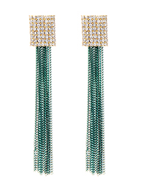 Fashion Green Diamond Decorated Long Tassel Earrings