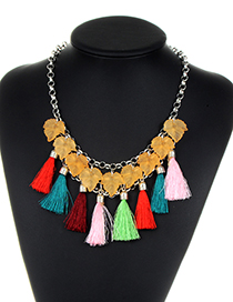 Fashion Multi-color Leaf&tassel Decorated Simple Necklace