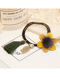 Fashion Yellow+khaki Tassel&flower Decorated Hair Band