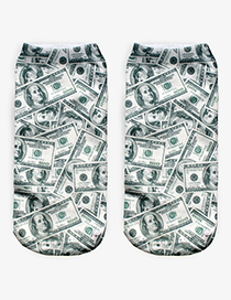 Trendy White+green Dollar Pattern Decorated Short Sock