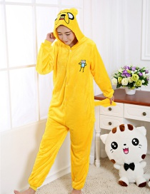 Trendy Yellow Cartoon Dog Shape Decorated Siamese Pajamas