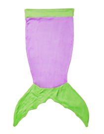 Trendy Green+purple Mermaid Tail Design Double Layer Children Sleeping Bags