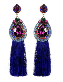 Fashion Sapphire B;ue Diamond Decorated Long Tassel Earrings