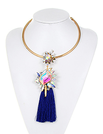 Fashion Sapphire B;ue Geometric Shape Diamond Decorated Tassel Choker