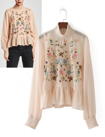 Trendy Apricot Embroidery Flower Decorated Blouse