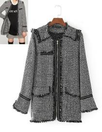 Trendy Black+white Stripe Pattern Decorated Long Sleeves Coat