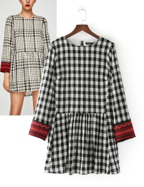 Trendy Black+white Grid Pattern Decorated Embroidery Dress