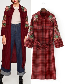 Trendy Red+black Flower Pattern Decorated Embroidery Coat