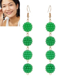 Fashion Green Ball Shape Decorated Pure Color Long Earrings