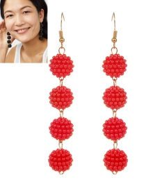 Fashion Red Ball Shape Decorated Pure Color Long Earrings