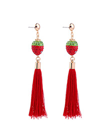 Fashion Black Strawberry Shape Decorated Tassel Earrings