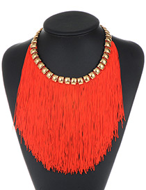 Fashion Red Long Tassel Decorated Pure Color Necklace