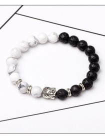 Fashion Black+white Buddha Head&beads Decorated Bracelet