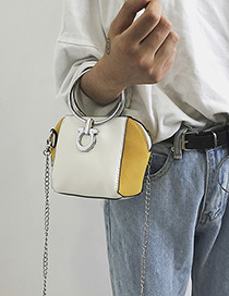 Fashion Yellow Circular Ring Decorated Shoulder Bag
