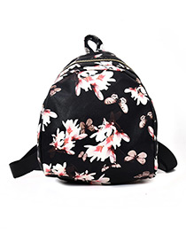 Fashion Black Narcissus Pattern Decorated Backpack