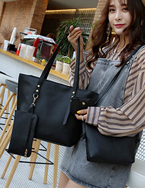 Fashion Black Rivet Decorated Pure Color Shoulder Bag (4pcs)