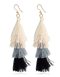Elegant Black Tassel Decorated Umbrella Shape Earrings
