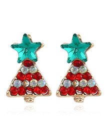 Elegant Red+green Star&christmas Tree Decorated Earrings