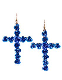 Fashion Blue Rose Decorated Cross Shape Design Earrings
