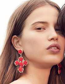 Fashion Red Flower Decorated Cross Shape Design Earrings