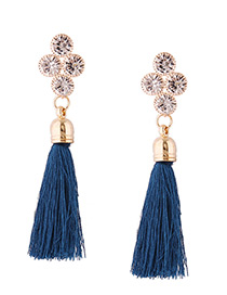 Fashion Blue Diamond Decorated Long Tassel Earrings