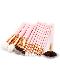 Fashion Pink Sector Shape Decorated Makeup Brush(12pcs)
