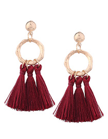 Bohemia Claret-red Tassel Decorated Earrings