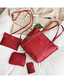 Fashion Red Pure Color Decorated Bags (4pcs)