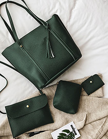 Fashion Green Pure Color Decorated Bags (4pcs)