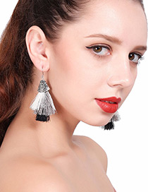 Vintage Silver Color Color-matching Decorated Tassel Earrings