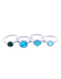 Trendy Blue Heart Shape Decorated Simple Ring(4pcs)