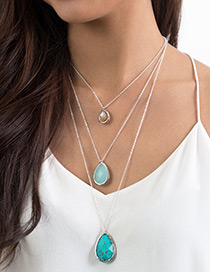 Trendy Blue Water Drop Shape Decorated Long Necklace