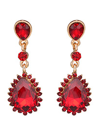 Trendy Red Full Diamond Decorated Pure Color Earrings