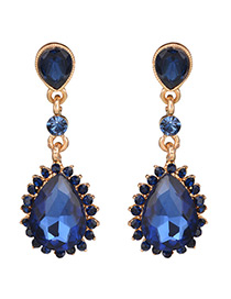 Trendy Blue Full Diamond Decorated Pure Color Earrings