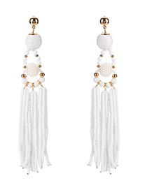 Bohemia White Pure Color Decorated Tassel Earrings