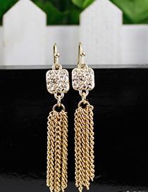 Fashion Gold Color Diamond Decorated Pure Color Tassel Earrings