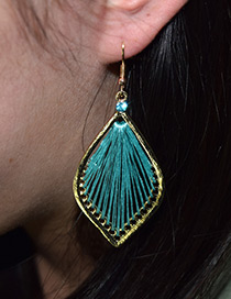Fashion Blue Leaf Shape Decorated Hollow Out Earrings