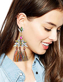Fashion Multi-color Oval Shape Diamond Decorated Tassel Earrings
