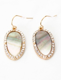 Fashion Gold Color Shell Decorated Oval Shape Earrings