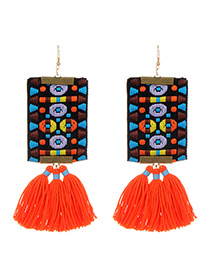 Fashion Orange Tassel Decorated Hand-woven Design Earrings