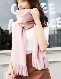 Fashion Pink Tassel Decorated Dual-use Thicken Scarf