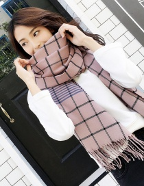 Fashion Pink Grid Pattern Decorated Dual-use Scarf