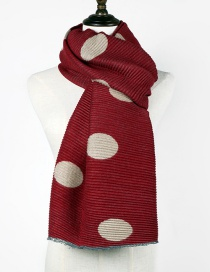 Fashion Claret Red Dots Pattern Decorated Thicken Scarf