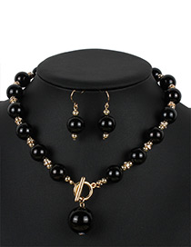 Fashion Black Pure Color Decorated Jewelry Sets