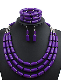 Fashion Purple Pure Color Decorated Jewelry Set ( 3 Pcs)