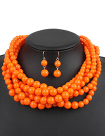Fashion Orange Pure Color Decorated Jewelry Set