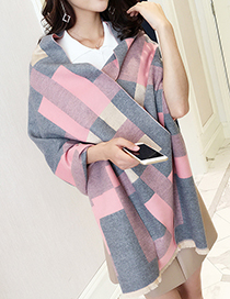 Trendy Pink Grid Pattern Decorated Dual-use Thicken Scarf