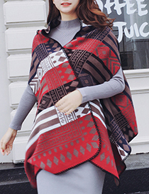 Trendy Red+white Color Matching Decorated Thicken Scarf