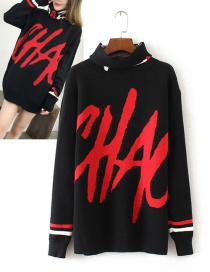 Trendy Black Letter Pattern Decorated Simple Sweater